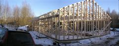 Roof trusses are up.